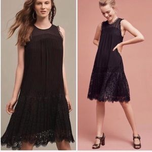 Anthro Floreat lace pleated black mini dress 2